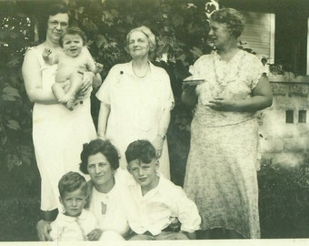 1930s Family Grandma Holding Naked Baby Other Grandmother Holding Dessert Summer Day Vintage Photo Black and White Photograph