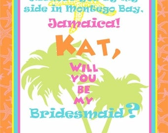 Custom Beach Wedding Bridesmaid Wine Label - Will you be my Bridesmaid - FUN Starfish Personalized Label or your message