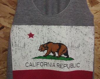 California Republic Bear Flag Tank Top American Made  XS   S   M   L or XL