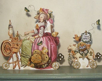 Marie Antoinette Paper Doll Party Decoration - Digital INSTANT Download - Knitting, Spinning Wheel Theme MA18M