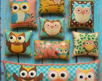 New Set of 10 Primitive Owl Ornies Tucks Shelf Sitters Bowl Fillers Grungy Handsewn Handmade Gift Teacher Mom