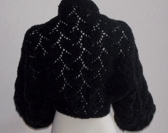 Hand Knit Black Shrug Bolero Sweater Handmande  Balloon Sleeve Lacey Merino Wool Bridal Shrug