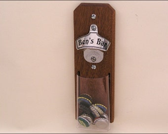 Personalized Stainless Steel & Mahogany Cap Catcher Bottle Opener, Groomsmen Gift - Wall Mount or Magnetic, Clear Pouch