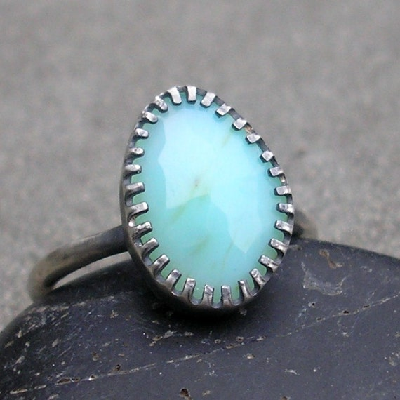 Blue Peruvian Opal Ring. Rose Cut Opal, Sterling Silver, Fancy Bezel, Hand Made.  US Size 6