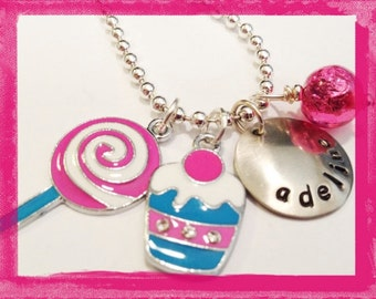 Kids Personalized Necklace - Hand Stamped Jewelry for Children - LOLLIPOPS AND CUPCAKES #Sw83