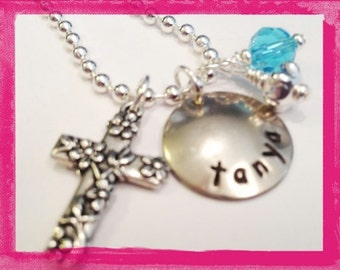 Personalized Necklace - Christian Necklace - Hand Stamped for KIDS - Cross