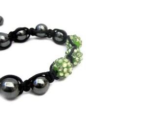 Bracelett, Adjustable,  Green, Olive Green,  Black, Trendy, Handmade, Bohemian, Beaded, Macrame Bracelet