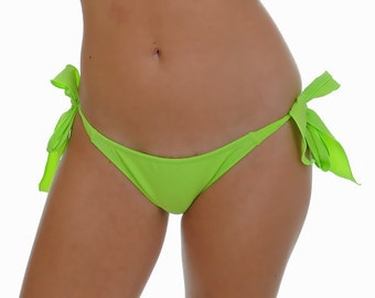 Lime Green Side Tie Scrunched Bottom- ONE SIZE Fits Most