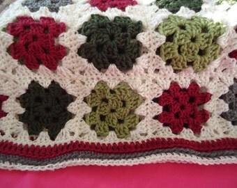 Snuggly Soft Baby Afghan Burgandy Cream Greens Gray Blanket