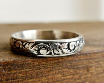 filigree wedding band silver floral wedding ring unique wedding ring for her sterling - Unique Wedding Rings For Her