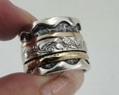 Sterling silver integrated 9K rose and yellow gold flower band size 8