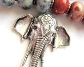 2 Lg Elephant pendants antique silver charms  50mm x 34mm x 7mm necklace focals