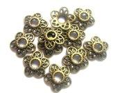30 Bead caps 12mm lace filigree bead caps antique bronze diy jewelry making supplies H10345-U5