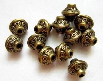 40 Beads antique bronze tibetan spacer beads bicone 7mm  6m supplies MLF115-Z3
