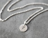 Tiny Intial Necklace, Custom Personalized Initial Charm Hand Stamped Necklace Any Initial Brushed Silver Disc Personalized Jewelry