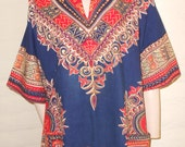 1960's Short-Sleeved Bold Pattern Ethnic Blouse/Shirt - Blues and Reds - Size L