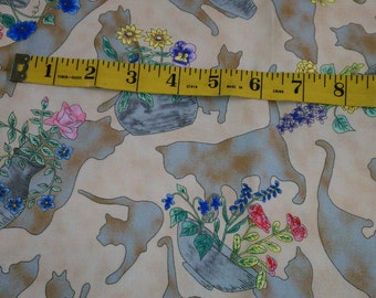 1 Yard Beige with Silhouette Cats & Wildflowers (437E)