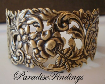 Victorian Bracelet Cuff Supply, Floral Filigree with Rings Soldered for a Quality Jewelry Component, Brass Ox