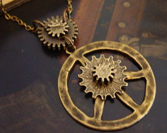 Steampunk PEACE Necklace, Gears and Cogs Indutrialized Jewelry, Exclusive Design, Hand Made, Bronze Ox Finish