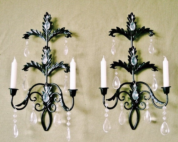 Hollywood Regency Jet Black Crystal Candle Wall Sconce Set MADE TO ORDER