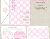 Modern Baby Shower Invitation in Pink