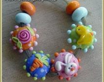 Springtime Lentils Lampwork Bead Set