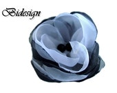6 pieces handmade white and black organza roses