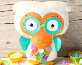 PDF pattern.Rainbow owl. Plush toy Pattern, Softie Pattern, Soft felt Toy Pattern.