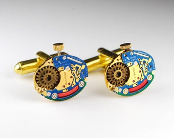 Steampunk Cufflinks Genuine MOVADO - Luxury Watch Movement Cuff Links -- Great for Wedding Gift - Fathers Day - Anniversary