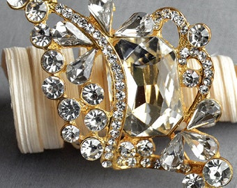 Rhinestone Brooch Embellishment Crystal Pearl Gold Wedding Brooch Bouquet Cake Invitation Decoration Hair Comb Shoe Clip BR278