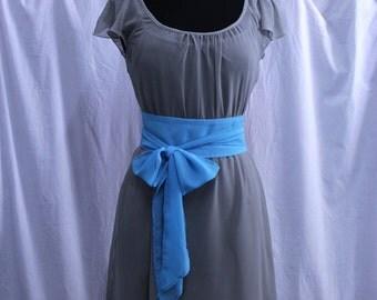 Bridesmaid Gray Chiffon Dress, Ready made, Mismatched Color Belt