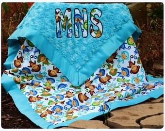 Baby Boy Blanket - Zoologie Monkeys - Turquoise Minky Swirl - Satin Binding -Personalized/Applique - Baby Boy - Multiple Sizes