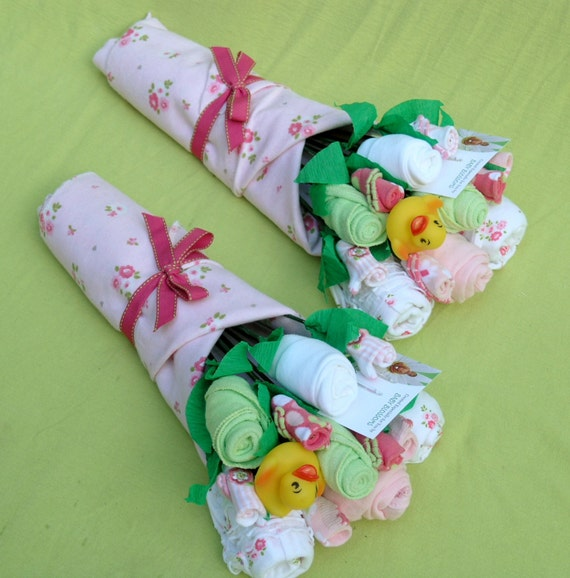 Baby Gift Ideas Twins : Items similar to girl twins baby bouquet twin girls