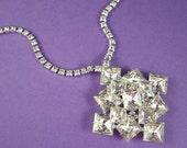 Vintage Rhinestone Necklace Brilliant Crystal Wedding Necklace Bridal Necklace Wedding Jewelry
