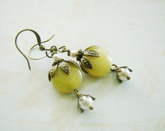 Vintage style white pearly bell flower antiqued brass nickel free earrings, swarovski crystal, earthy, cottage wedding, autumn season