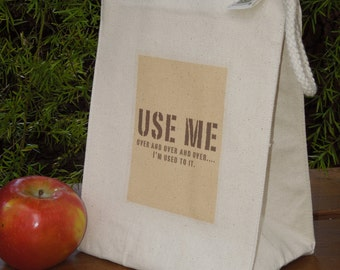 Recycled cotton lunch bag - Canvas lunch bag - Gender neutral lunch bag - Small project bag - USE ME over and over and over