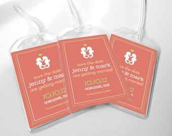 Custom Save The Date Luggage Tags - Kissing Seahorses for Beach Wedding