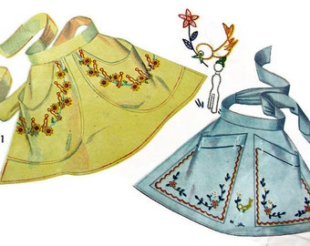 1940s  Transfer Aprons Sewing Pattern 7400 -  Gay CLOTHESPIN Aprons  - FF - Uncut for Embroidery, Pattern & Applique Transfers