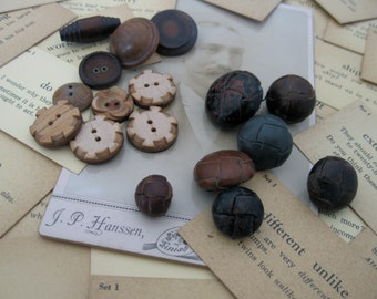 17 vintage buttons, classic mens coat buttons, brown and black buttons, no.36, button collection, wood, leather, and plastic