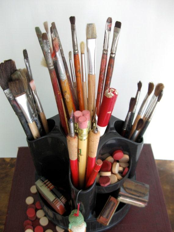 Vintage Art Supply Storage Art Supply Carousel By