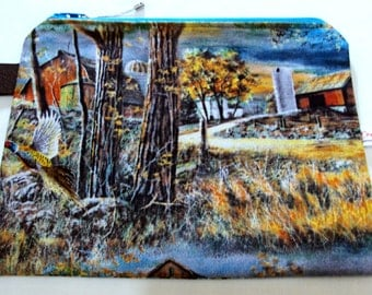pheasants zipper bag  Bright and colorful Good cosmetic, glove box, camo bag, guy bag