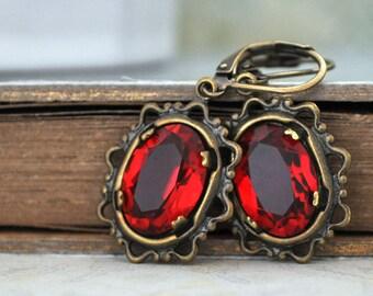 antiqued brass earrings - DARK VICTORIAN - antiqued brass Victorian style earrings with ruby red color vintage glass jewels