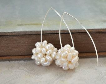 IVORY - cream seed pearl sterling silver earrings