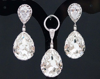 Bridal Jewelry Set Swarovski Crystal Jewelry Set Wedding Jewelry Set Bridesmaid Gifts Bridal Earrings Bridal Necklace (S-B-0003)