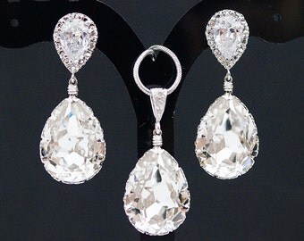Bridal Jewelry Set Swarovski Crystal Jewelry Set Wedding Jewelry Set Bridesmaid Gifts Bridal Earrings Bridal Necklace (S-B-0003)