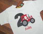 Tractor Birthday Shirt, Tactor with Number, Boys Birthday Shirt, Monogrammed, Red Tractor