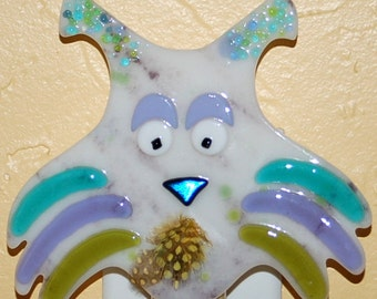 Jellico Cat Fused Glass Nightlight - lavender, turquoise and lime