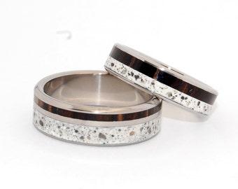 Titanium wedding ring, wedding band, concrete ring, men's ring, woman's ring, palm wood, titanium ring - FAITH AND TRUTH