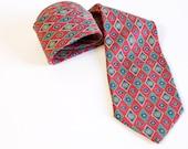 Vintage 1980s Men's red silk necktie with teal green diamond pattern