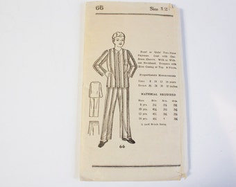 Vintage 1930s  Boys or girls Pajamas pattern 66 size 12 by W.T Grant collectable pattern